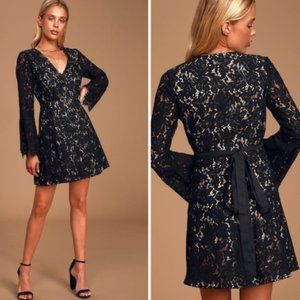 Lulu's With All My Heart Black Lace Wrap Dress
